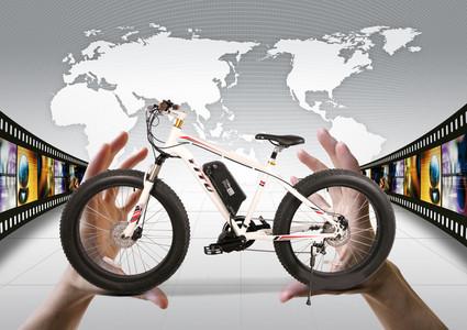创意胶卷地图自行车广告海报背景 (3508*2480)-官网海报高清背景