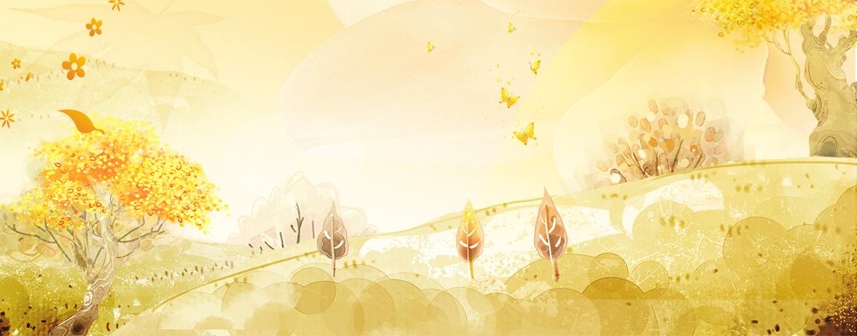 立秋文艺手绘黄色背景
