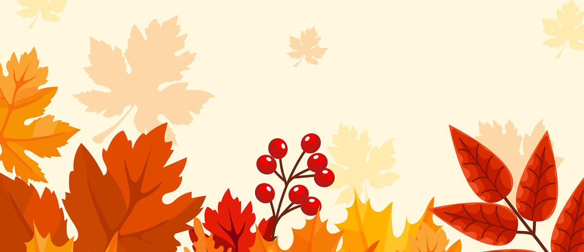 立秋秋天扁平枫叶梧桐叶黄色背景jpg素材-90设计
