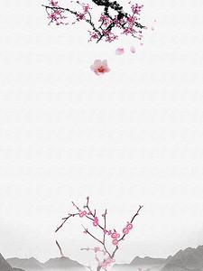 中国风梅花彩绘背景
