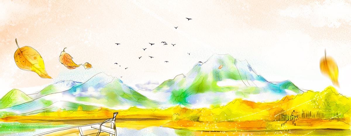 立秋小清新文艺黄树叶手绘黄色背景