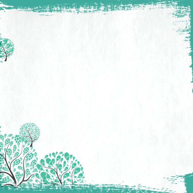 清新绿色简约手绘树叶主图