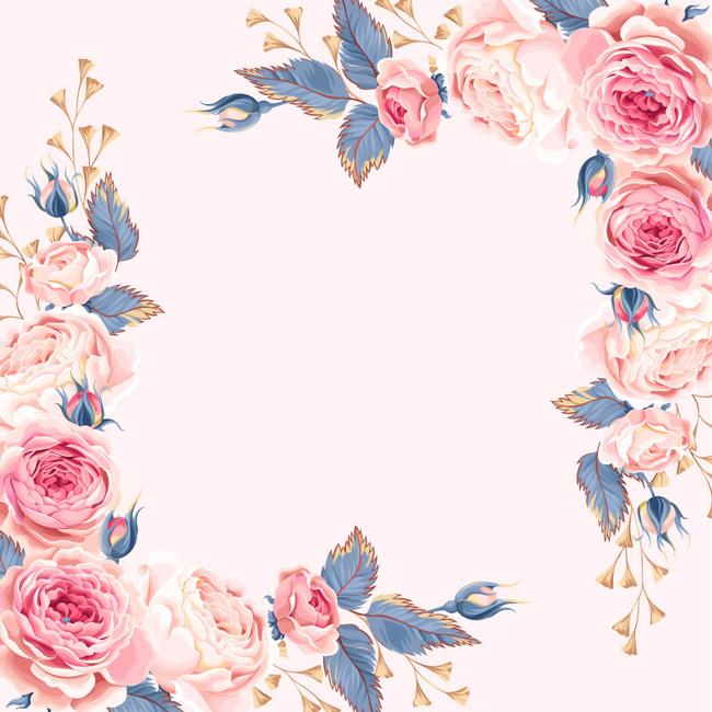 复古手绘七夕节粉色水彩花卉边框主图背景