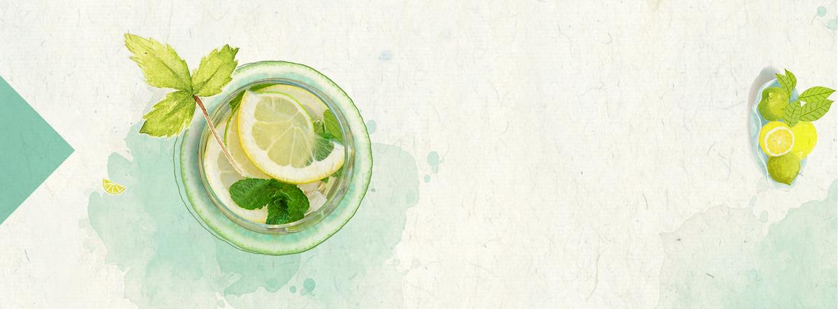 小清新柠檬果茶文艺手绘绿色背景