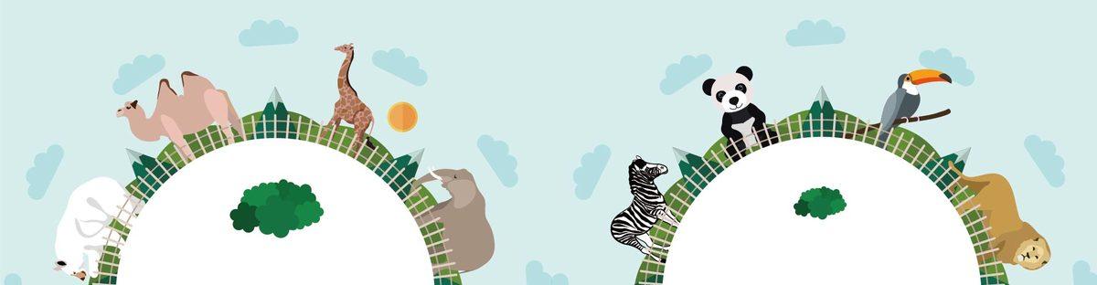 创意动物园地球村插画矢量素材_psd素材免费下载_ *
