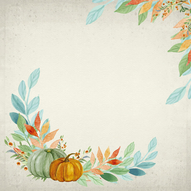 手绘复古花朵南瓜秋季丰收主图背景