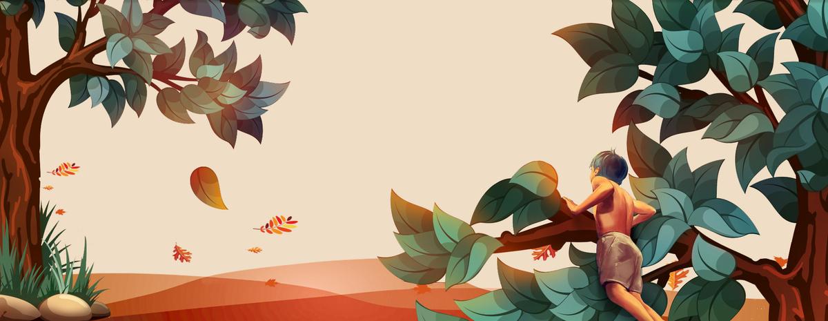 秋天简约小清新树叶手绘卡通黄色背景
