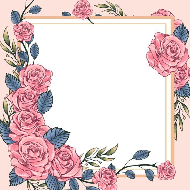 唯美手绘玫瑰花婚礼邀请函主图背景