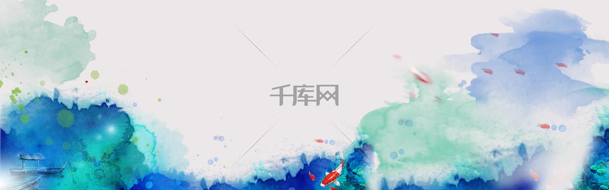 水墨中国风简约文艺素色海报banner