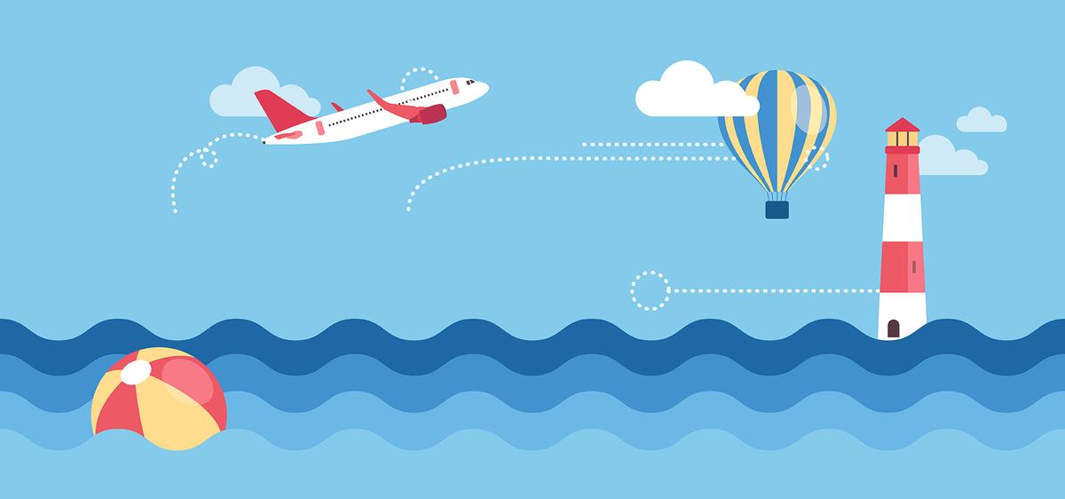 尺寸:1920*900 90设计提供旅游卡通手绘蓝色海洋海报banner背景设计
