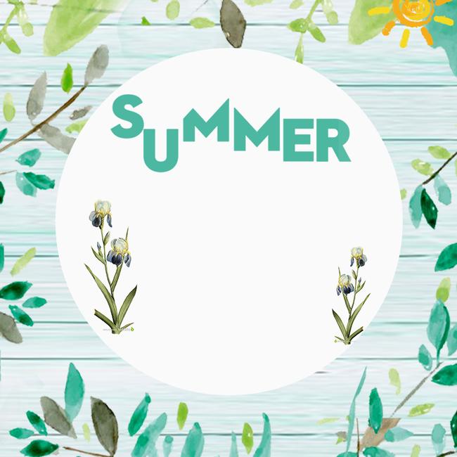 文艺手绘植物夏装psd分层主图背景素材