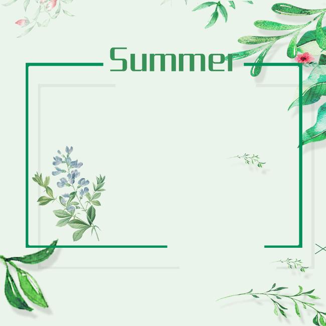 绿色文艺手绘植物服装psd分层主图背景