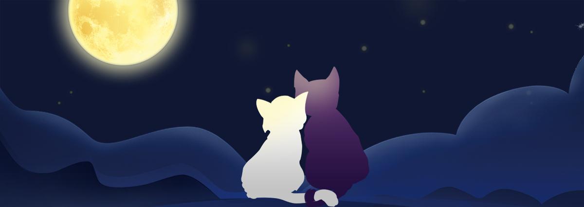 图片 > 【psd】 创意文艺情人节月亮深夜蓝色背景  分类:卡通/手绘