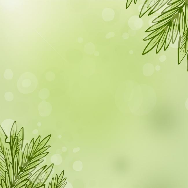 绿色手绘树叶主图