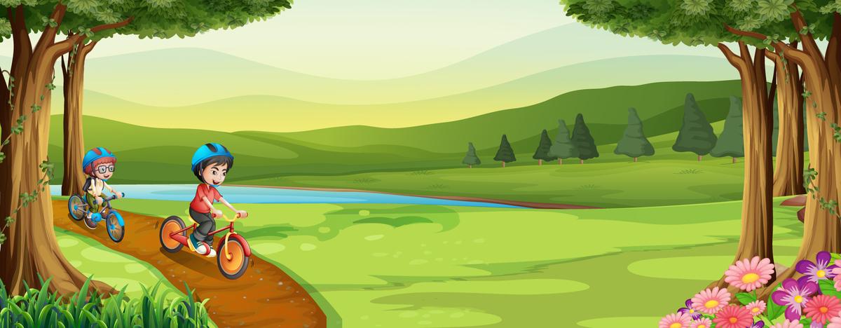 图片 > 【psd】 卡通小孩骑车大自然banner  分类:卡通/手绘 类目