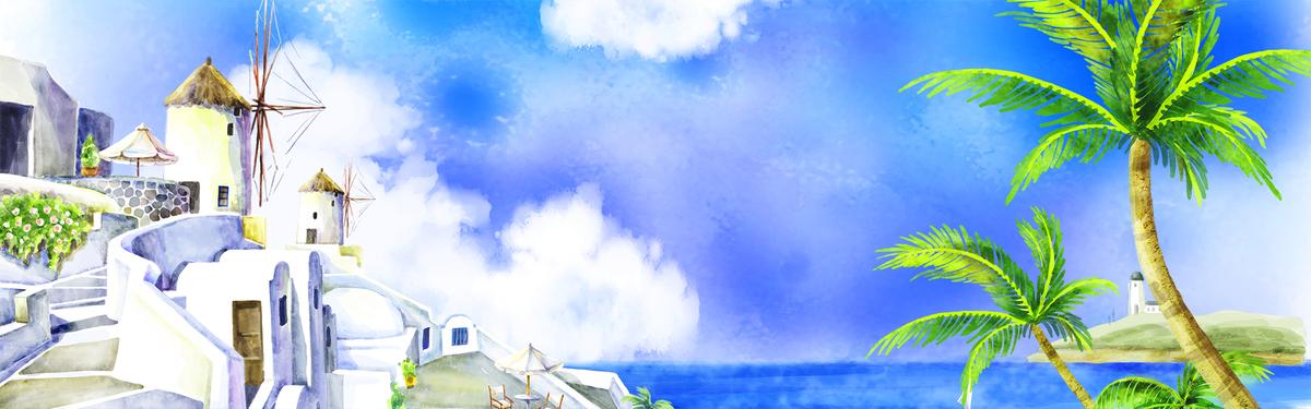 手绘唯美风景旅游banner