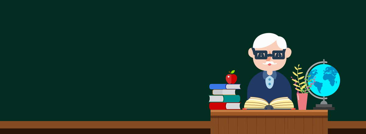 教师节简约老师卡通手绘绿色banner