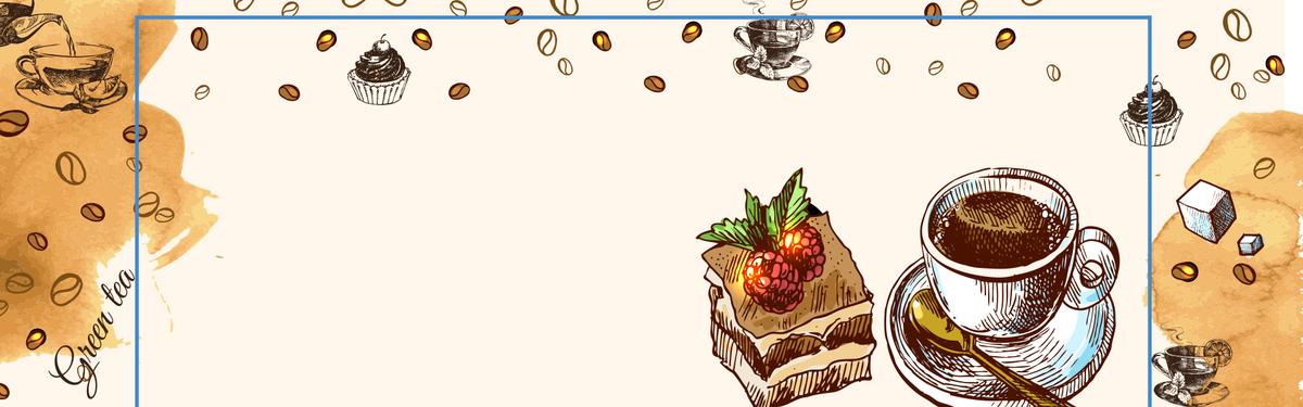 手绘咖啡蛋糕下午茶banner