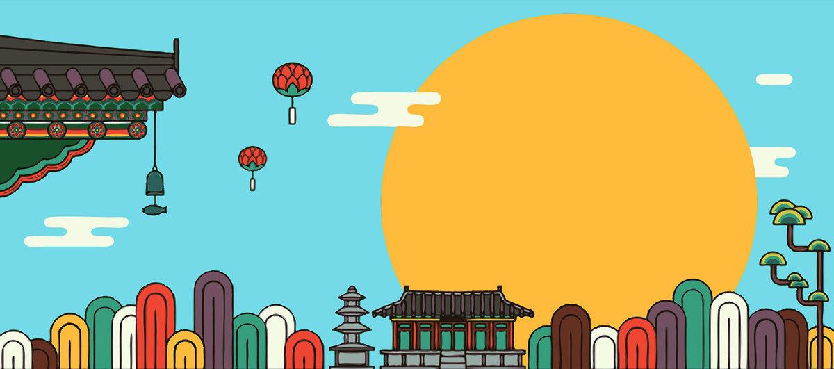 蓝色古风手绘建筑中秋节电商banner