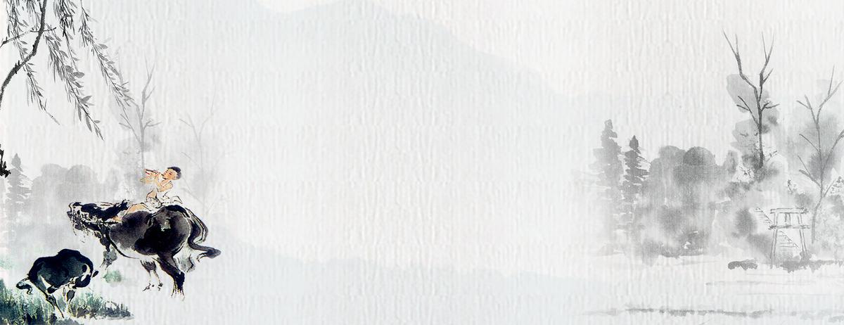 中国风绘画古典山水灰色banner_psd素材免费下载_ *