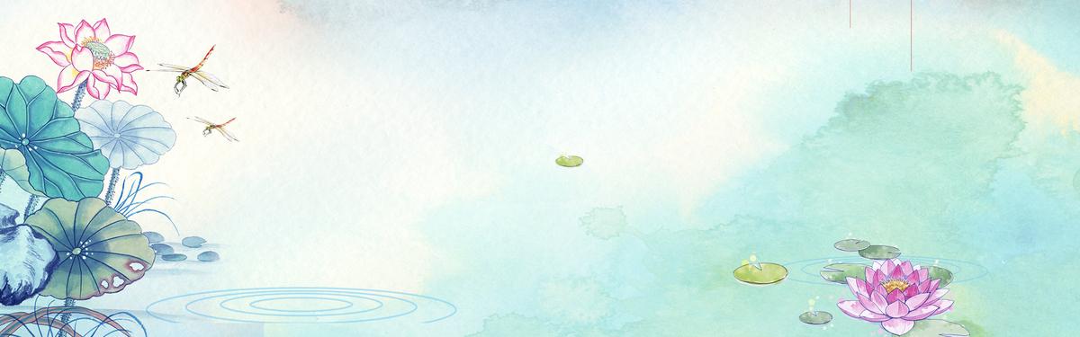 中国风水彩画卡通荷花蜻蜓banner