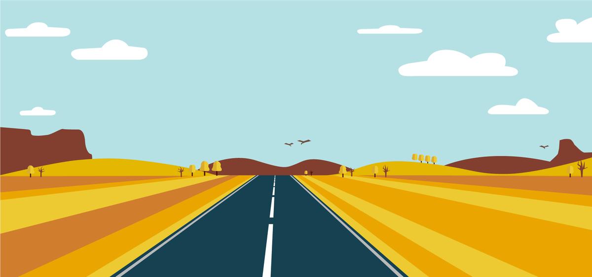 图片 > 【psd】 扁平化手绘透视公路  分类:卡通/手绘 类目:其他 格式