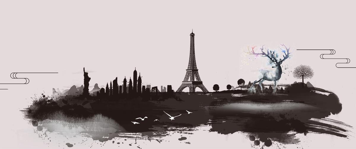 中国画绘画墨水建筑灰色banner图片