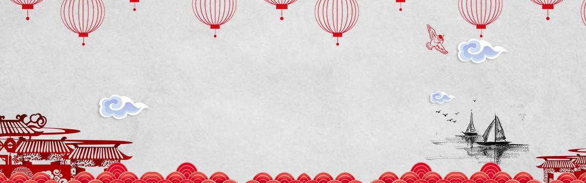 国庆节手绘扁平中国风banner