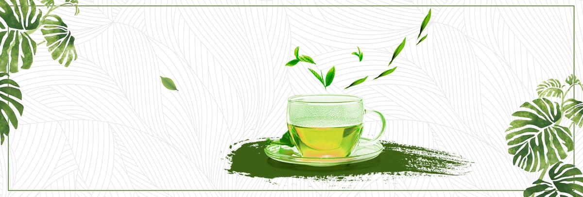 绿色小清新绿茶茶叶饮品电商banner图片