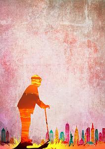 简约老人剪影重阳节海报背景ps 3359 2015 -老人剪影高清背景素材
