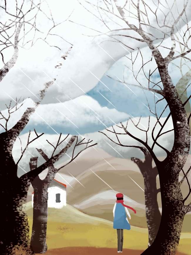 创意手绘插画立冬宣传
