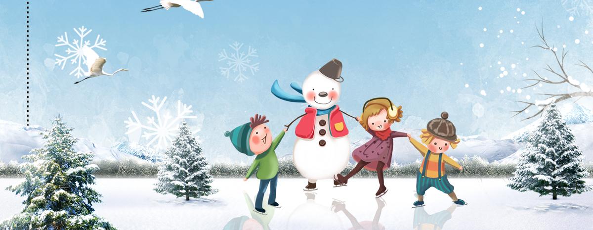 立冬堆雪人卡通雪松蓝色banner图片