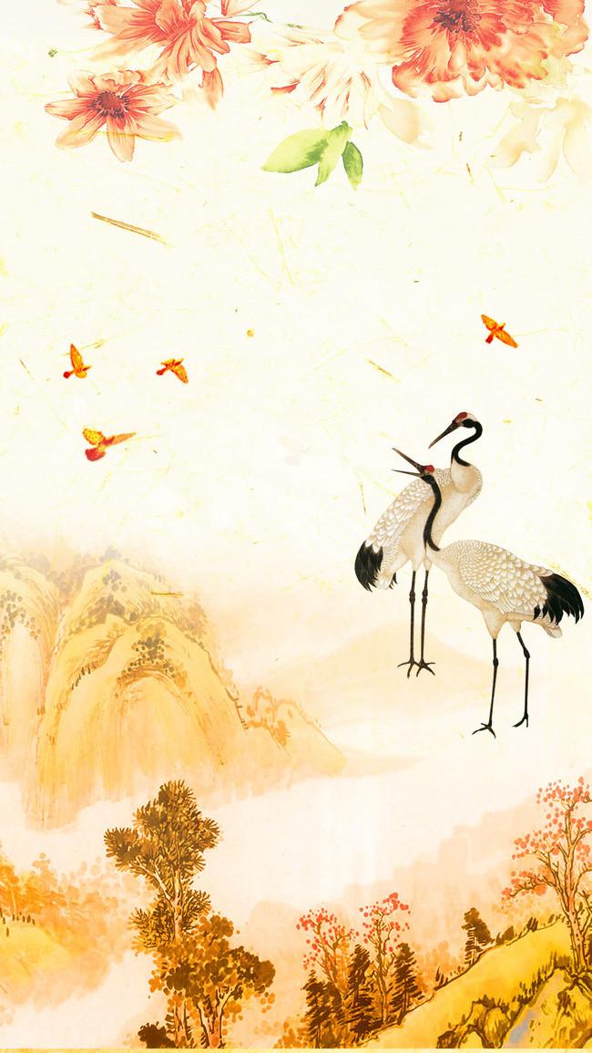 99重阳仙鹤高山中国风画