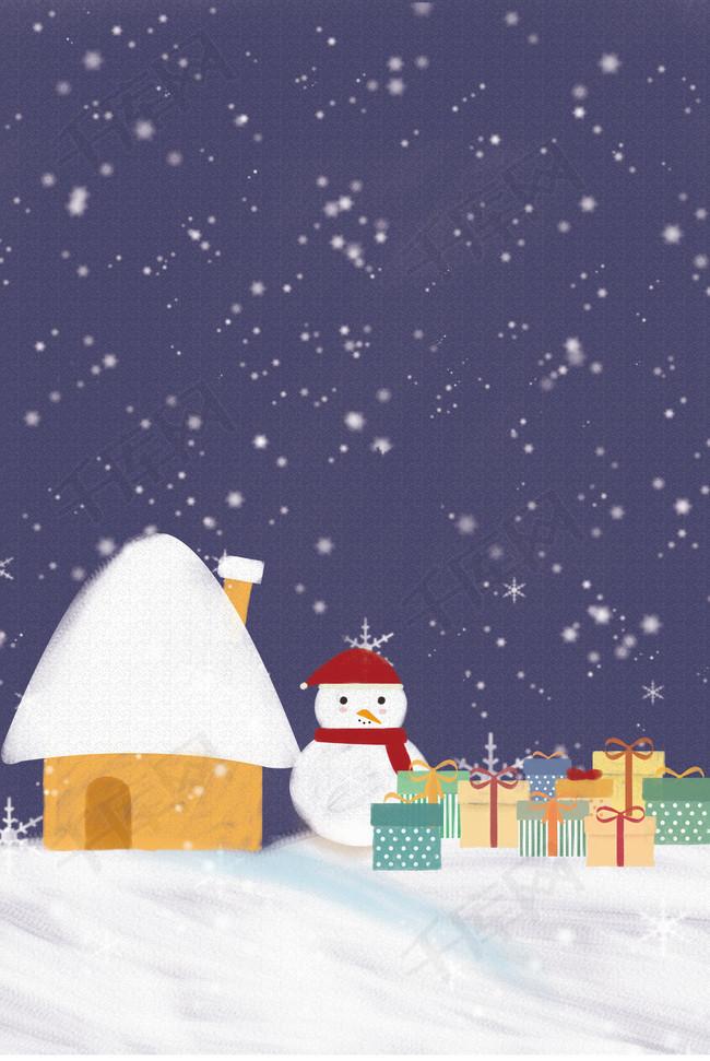 卡通手绘冬季雪景背景图片免费下载 广告背景 psd 千库网 图片编号
