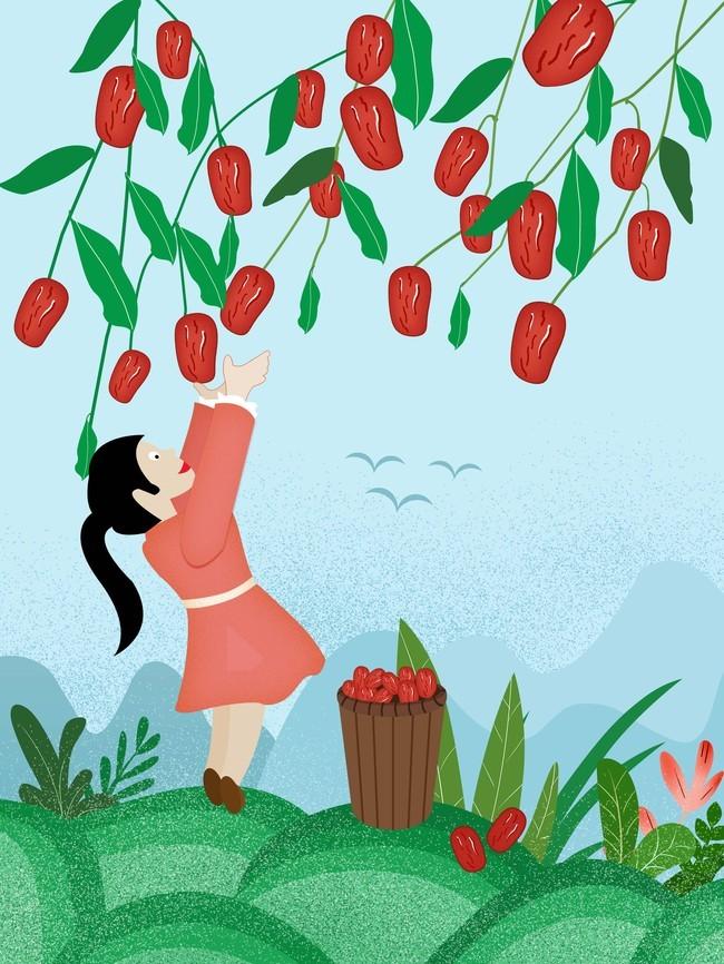 卡通手绘红枣美食插画海报