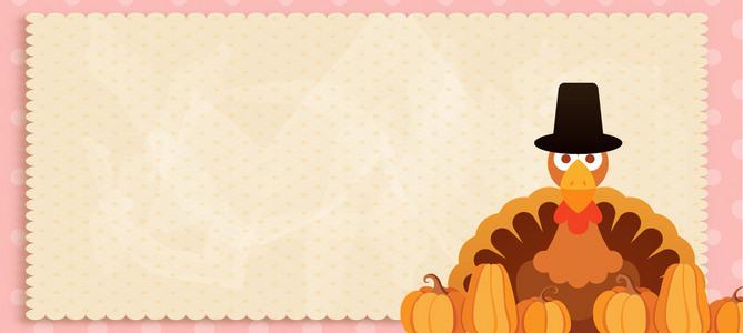 感恩节卡通童趣手绘温馨banner