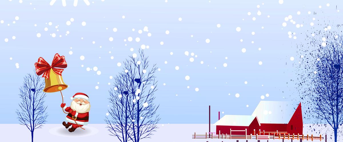 卡通圣诞节雪花蓝色手绘banner_psd素材免费下载_ *