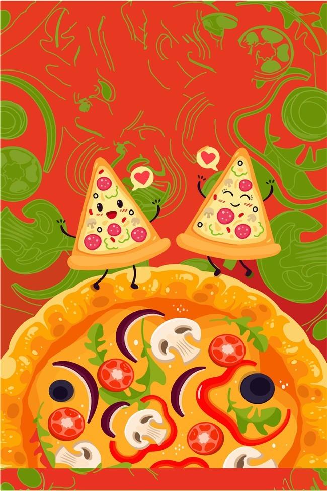 卡通手绘美食披萨西餐店海报背景