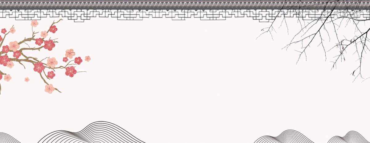 屋檐 梅花 手绘 中国风 复古 树枝 古典 唯美 典雅 广告中国风