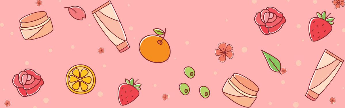 手绘水果护肤品可爱卡通彩色banner