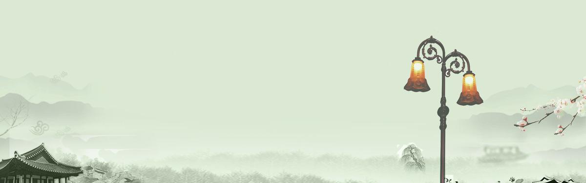 浅色清新文艺路灯建筑banner背景_psd素材免费下载_ *