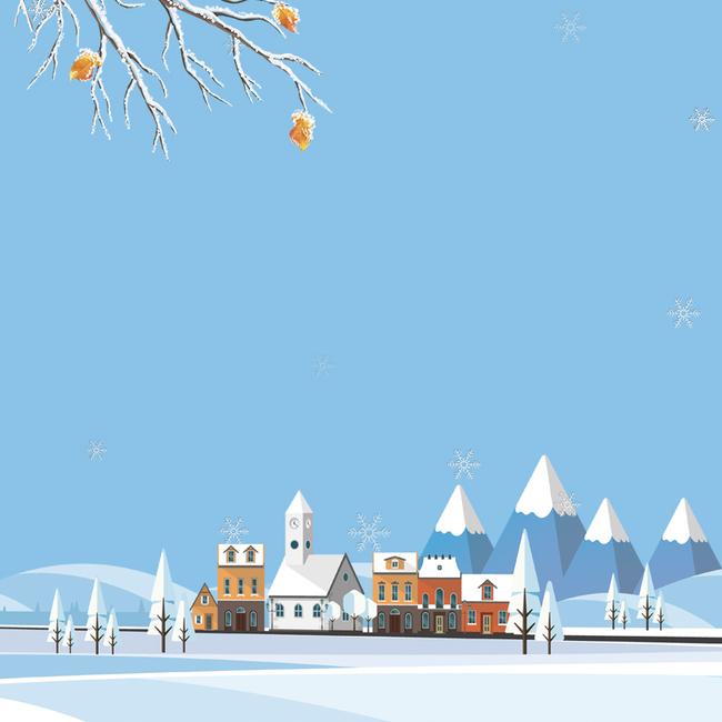 冬天浅蓝色扁平卡通雪山雪地主图背景图片