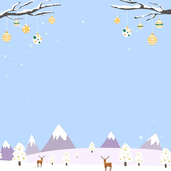 冬季蓝色卡通简约小清新psd分层主图