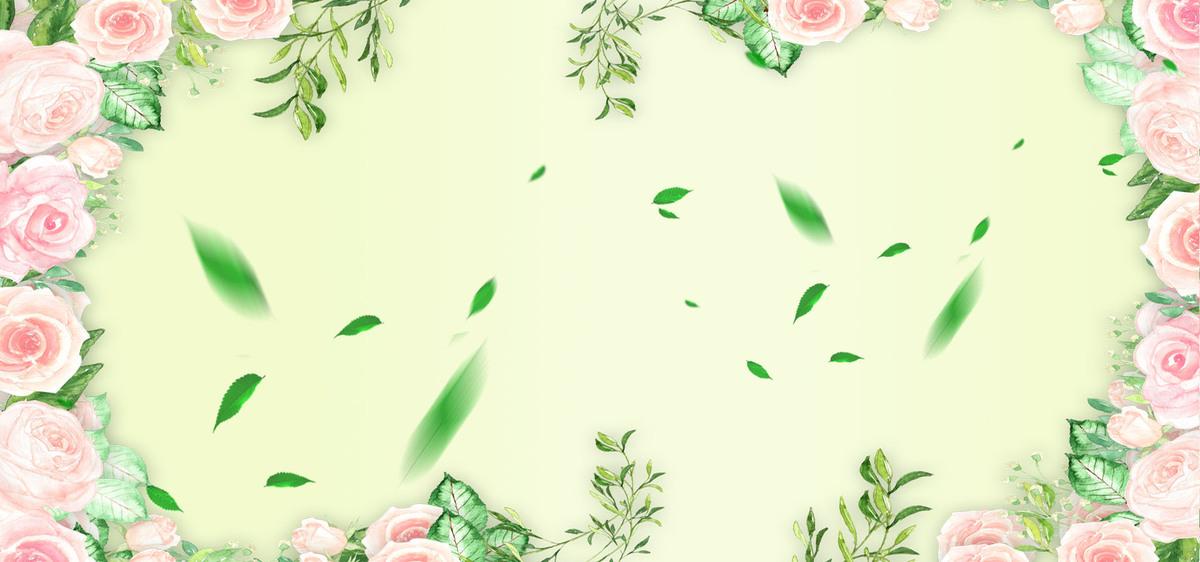90设计提供浅色清新文艺蔷薇花banner背景设计素材下载,高清psd格式.