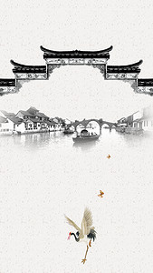 中式庭院复古简约设计海报背景图