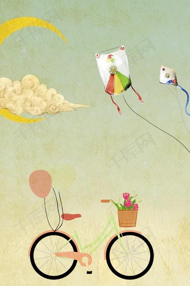 小清新唯美春季放风筝背景素材背景图片免费下载 广告背景 psd 千库图片