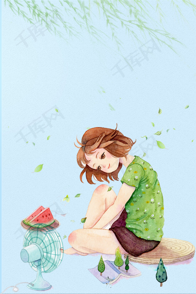 夏日促销手绘女孩海报