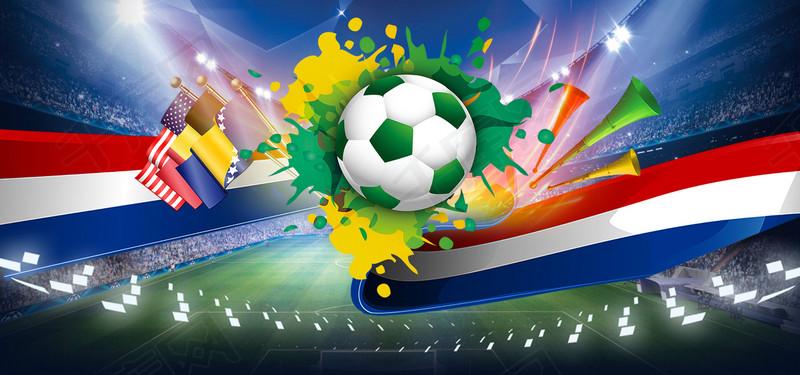 蓝色创意世界杯足球球场背景