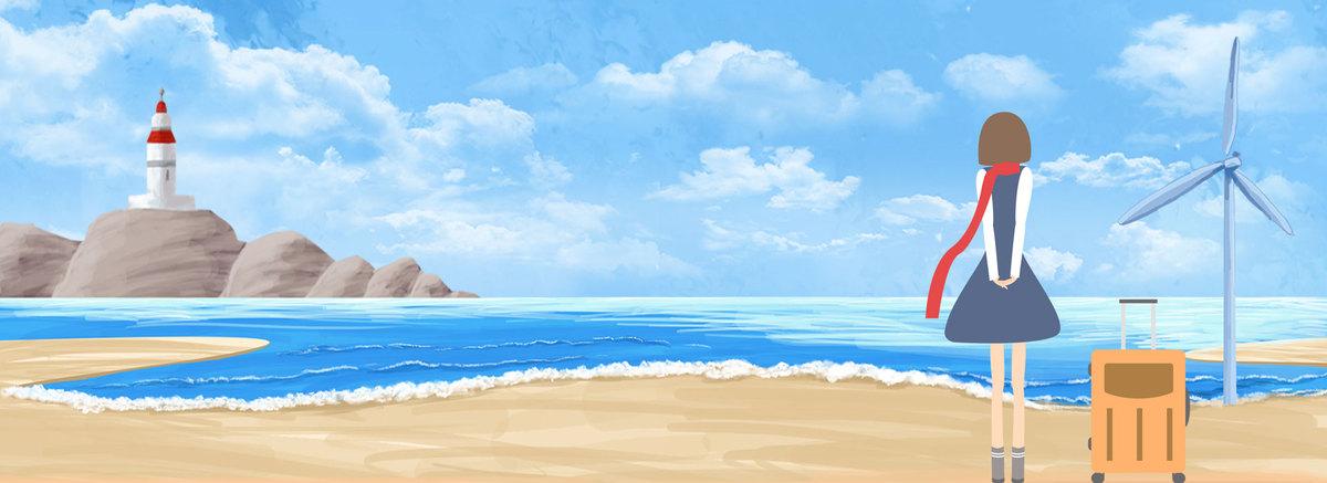 简约蓝天大海背景