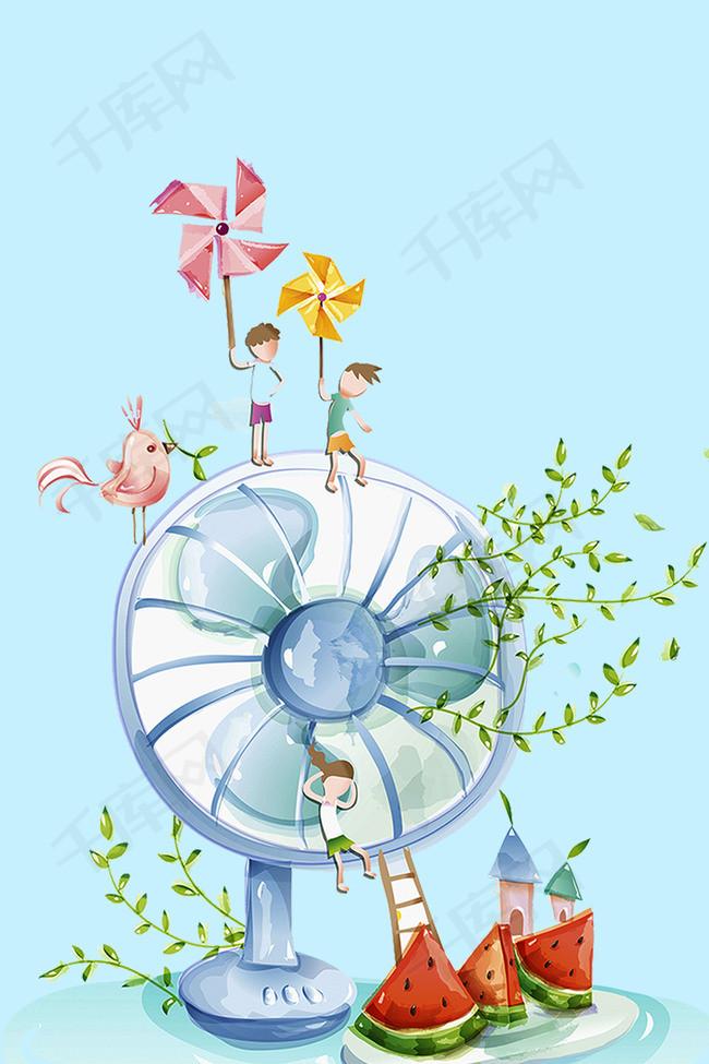 卡通二十四节大暑海报
